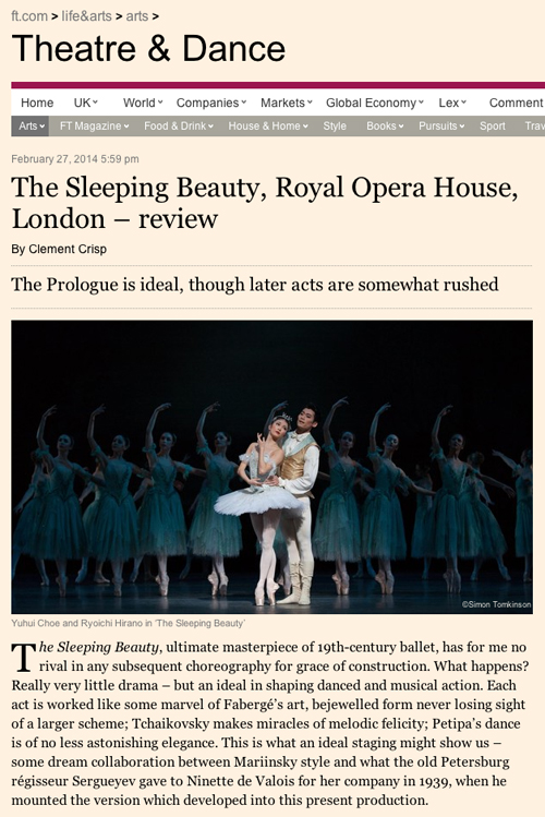 Royal Ballet sleeping beauty simon tomkinson photography financial times